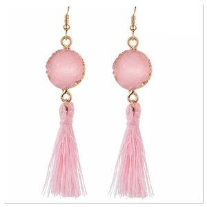 Pink Druzy & Tassel Earrings